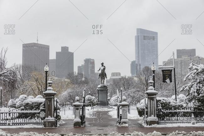 Boston, Massachusetts - March 9, 2018: Snow covering Boston park during a late season blizzard