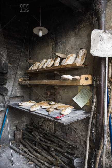 Loaves of bread baked in an outdoor brick oven, Tuscany, Italy
