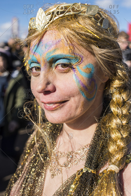 New York City, NY, USA - January 1, 2019: Woman in costume at the Polar Bear Plunge, Coney Island, Brooklyn