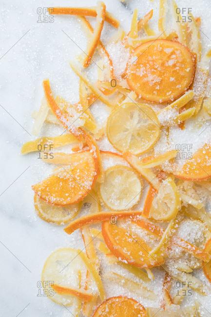 Candied citrus lemon and oranges