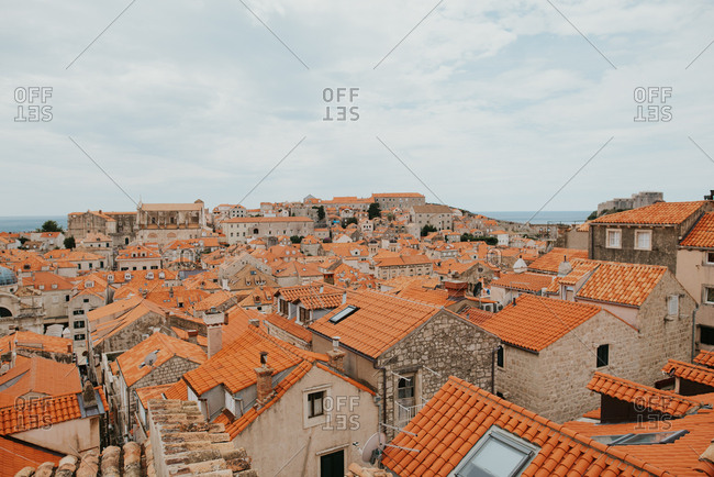 Rooftops of houses in historic neighborhood