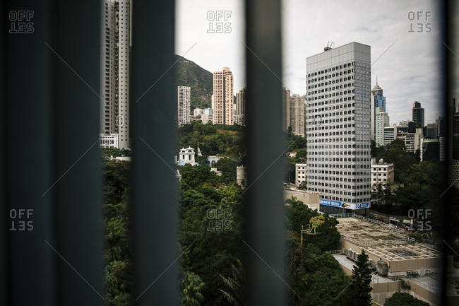 January 9, 2018: View of high rises and apartment building from a window