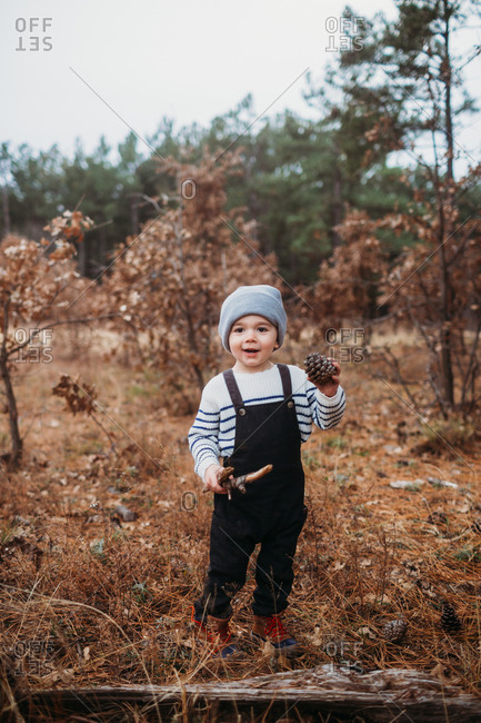 Young boy holding pinecones in the forest