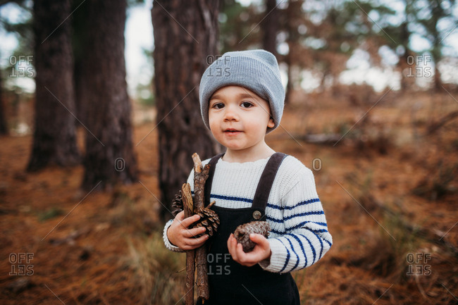 Little boy holding pinecones in the forest