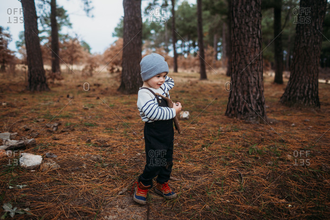 Little boy in the forest holding pinecones and branches