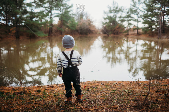 Rear view of little boy in the forest looking at lake