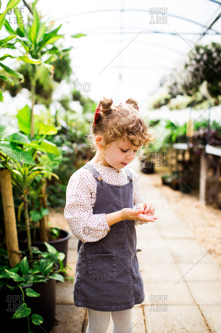 Little girl in a greenhouse