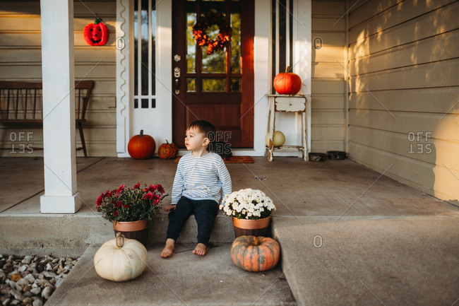 Toddler boy sitting on front porch by mums and pumpkins