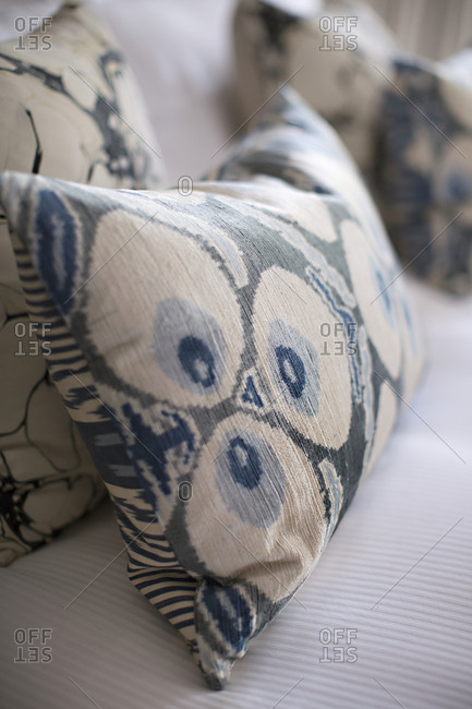 Close-up of throw pillows on a couch