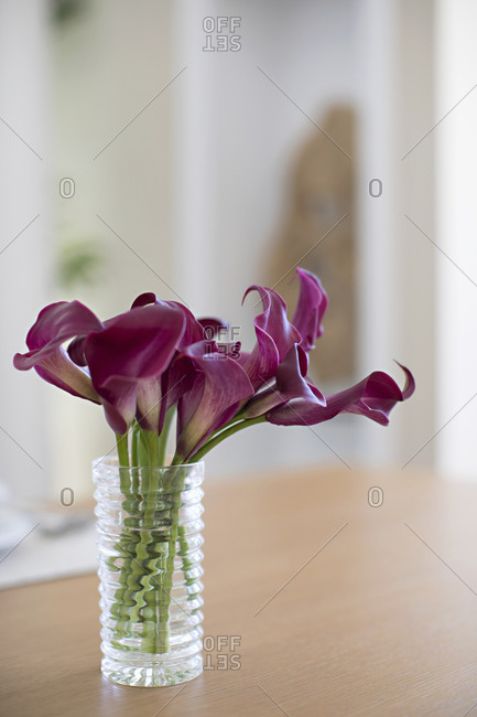 Glass vase with purple flowers