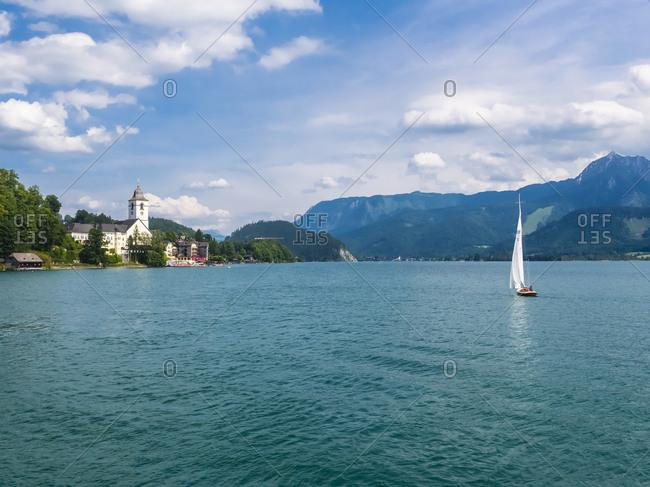 Austria- Salzkammergut- Salzburg State- Lake Wolfgangsee- St. Wolfgang- Sailing boat