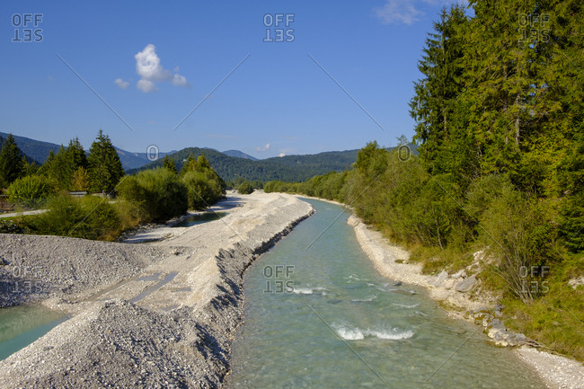 Germany- Bavaria- Upper Bavaria- Werdenfelser Land- Isar river near Wallgau