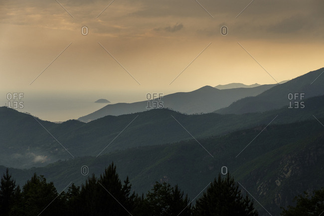 Italy- Liguria- near Finale Ligure- landscape- stormy atmosphere