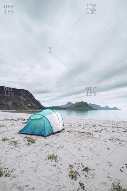 Norway- Lofoten- Ramberg- single tent on the beach