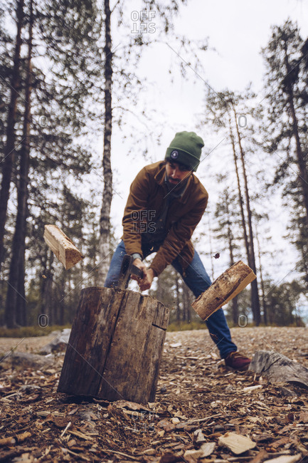 Young man chopping wood in the forest