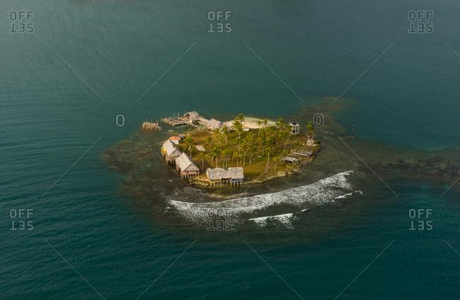Panama- San Blas Islands- Kuna Yala- Aerial view of island- village