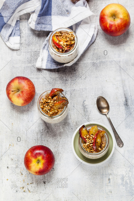 Apple pie overnight oats with caramelized apples and hazelnuts