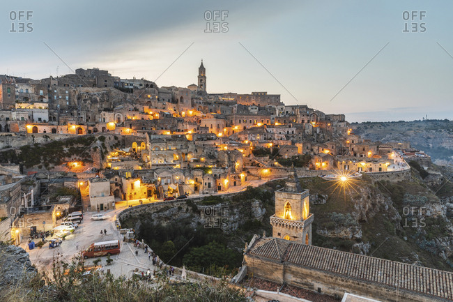 Italy- Basilicata- Matera- Townscape and historical cave dwelling- Sassi di Matera in the evening