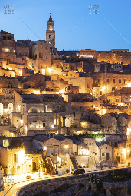 Italy- Basilicata- Matera- Townscape and historical cave dwelling- Sassi di Matera at blue hour