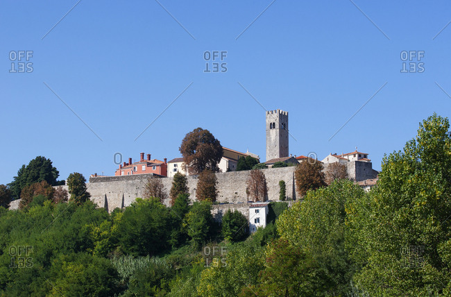 Croatia- Istria- Motovun- Old town- city wall and defense tower