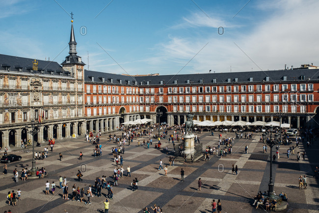 Madrid, Spain - October 8, 2016: People walking in Plaza Mayor