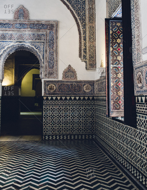 El Alcazar, Seville, Spain - October 6, 2016: -  Black and white Islamic tilework