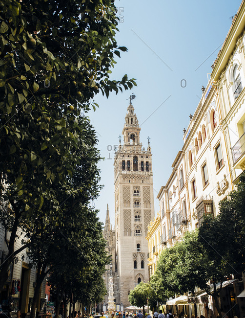 Seville, Spain - October 6, 2016: La Giralda tower seen from afar