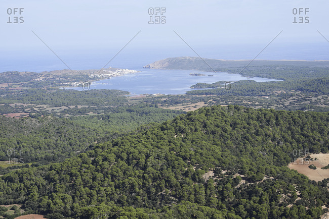 Scenery nature landscape with forest and coast with view of bay and sea.