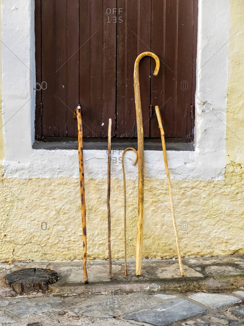 Front view of vintage walking sticks leaning on a wall