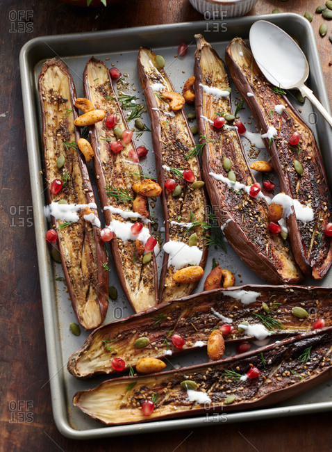 Grilled Asian eggplant on a baking pan