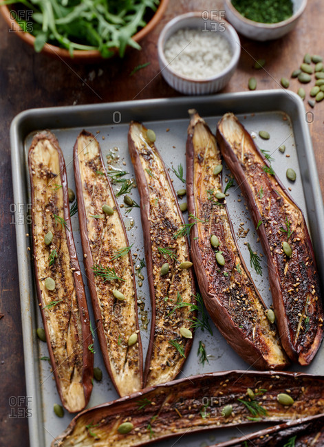 Grilled eggplant with za'atar