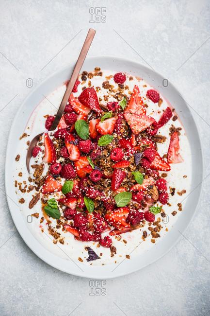 Big bowl of granola fruit and yogurt on light background