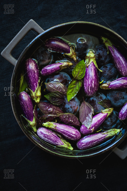 Close up of eggplant and plum purple vegetables