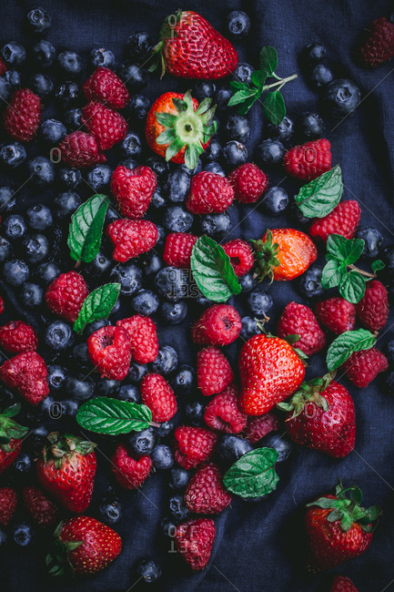 Strawberries mint and blueberries