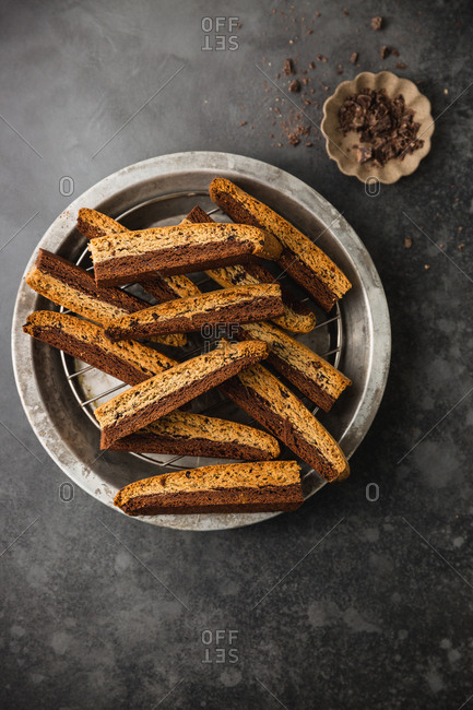Chocolate and coffee biscotti pieces on a plate