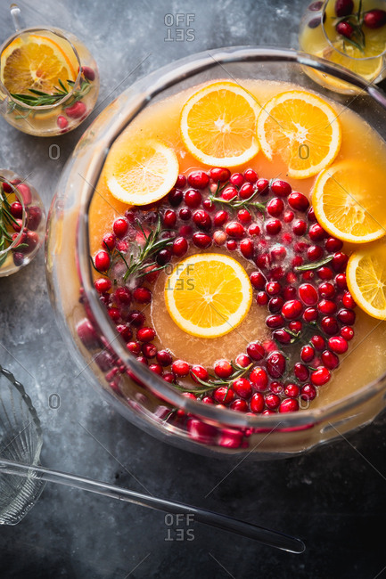 Cranberry ice ring in cranberry and orange holiday punch