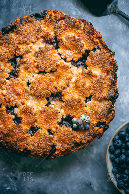 Homemade blueberry pie with blue background