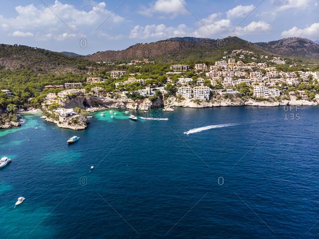 Spain - August 13, 2018: Balearic Islands- Mallorca- Region Calvia- Costa de la Calma- Peguera- Cala Fornells- coast and nature harbor