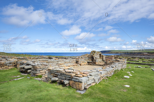Great Britain- Scotland- Orkney- Mainland- Brough of Birsay- settlement remains- old monastery from 11th Century
