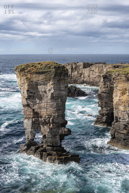 Great Britain- Scotland- Orkney- Mainland- Sandwick- sea stack Yesnaby