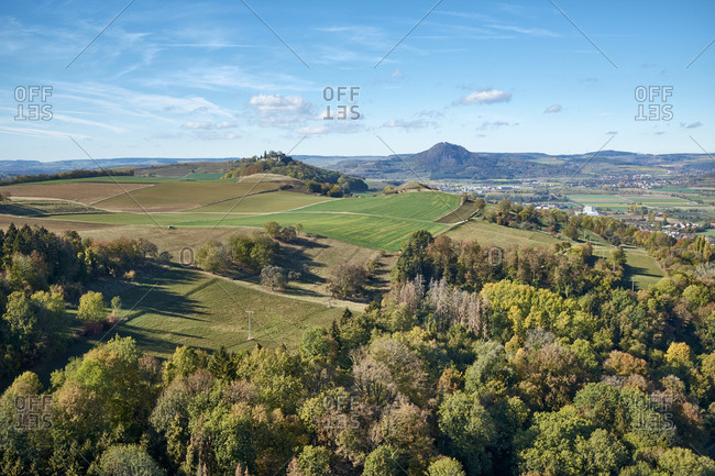 Germany- Baden-Wuerttemberg- Constance district- view from Hohenkraehen to Hegau volcanic landscape