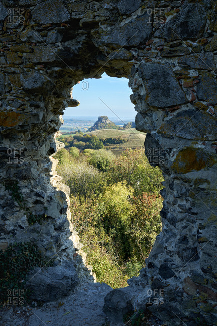 Germany- Baden-Wuerttemberg- Constance district- view through hole from Magdeberg Castle to Hohenkraehen in the Hegau- volcanic landscape