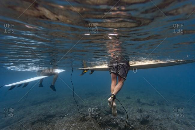 Maldives- Under water view of surfers sitting on surfboard- underwater shot