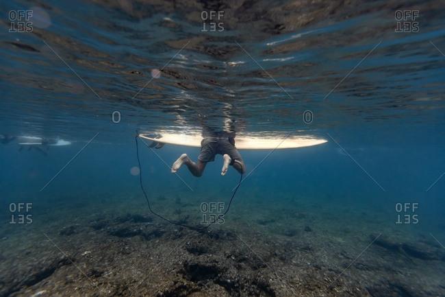 Maldives- Under water view of surfer on surfboard- underwater shot