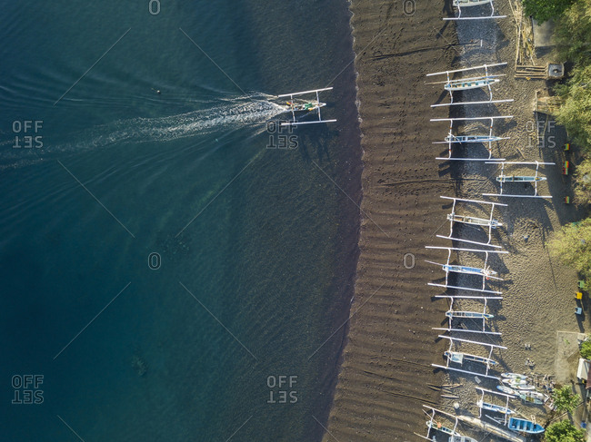 Indonesia- Bali- Amed- Aerial view of Jemeluk beach with banca boats