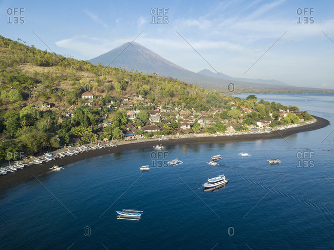Indonesia- Bali- Amed- Aerial view of Jemeluk beach and volcano Agung