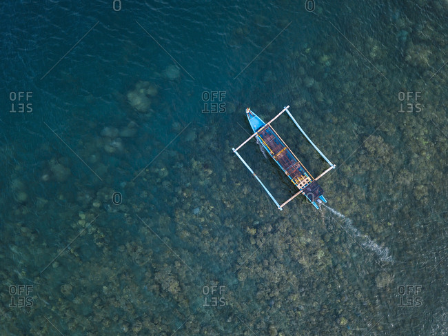 Indonesia- Bali- Amed- banca boat from above
