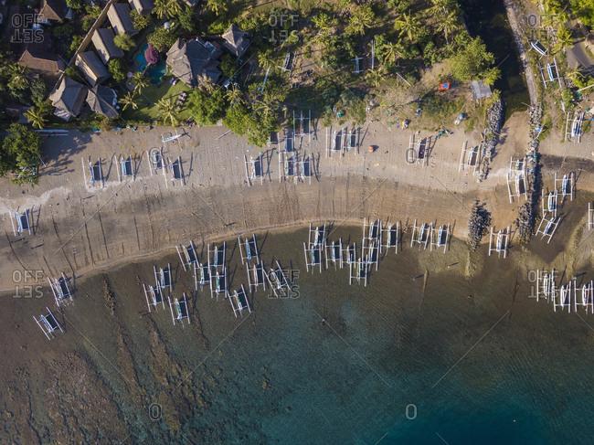 Indonesia- Bali- Amed- Aerial view of Lipah beach