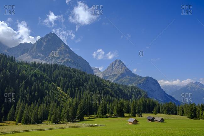 Austria- Tyrol- Wetterstein Mountains- Mieminger Kette- Ehrwald alp and Sonnenspitze