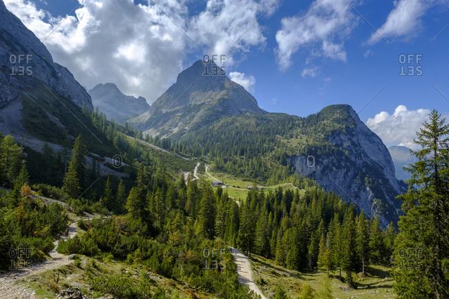 Austria- Tyrol- View to Ehrwalder Sonnenspitze- Seebenalm near Ehrwald- Mieminger Kette